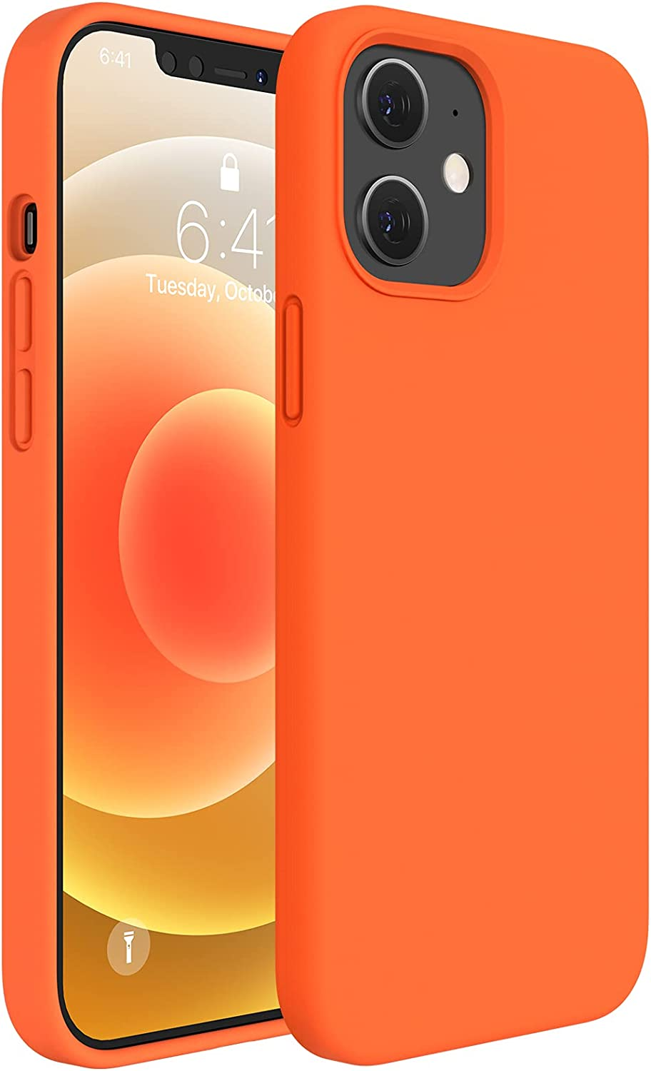 Miracase Compatible with iPhone 12 Case,Designed for iPhone 12 Pro Case 6.1 inch(2020),Liquid Silicone Gel Rubber Full Body Protection Shockproof Drop Protection Case(Orange)