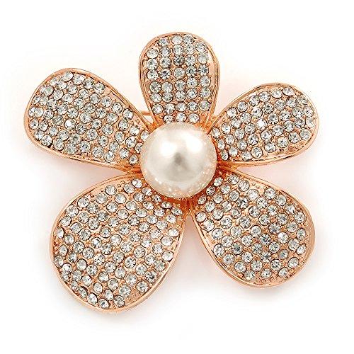 Avalaya Clear Austrian Crystal, Pearl Asymmetrical Flower Brooch In Rose Gold Tone - 50mm Across