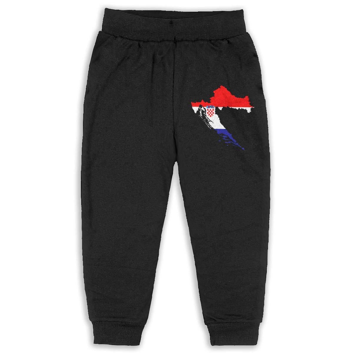 Fleece Active Joggers Elastic Pants DaXi1 Croatia Sweatpants for Boys /& Girls