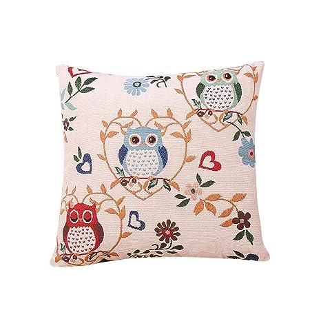 FOCCTS Funda de cojín de algodón con diseño de búho, 50 x 50 ...