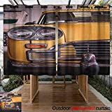 AndyTours Outdoor Grommet Top Curtain Panel,New York,Picture of Antique Yellow Taxi Historic Element of Old NYC Nostalgia Vintage Cab,for Porch&Beach&Patio,K183C160 Yellow Grey