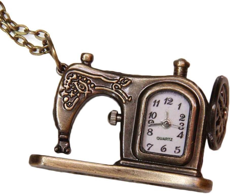 Forma de la Vendimia Máquina de Coser de Bolsillo Reloj de Cuarzo analógico Reloj de Pulsera de Cadena de la aleación del Reloj Colgante de Collar de Regalo: Amazon.es: Hogar