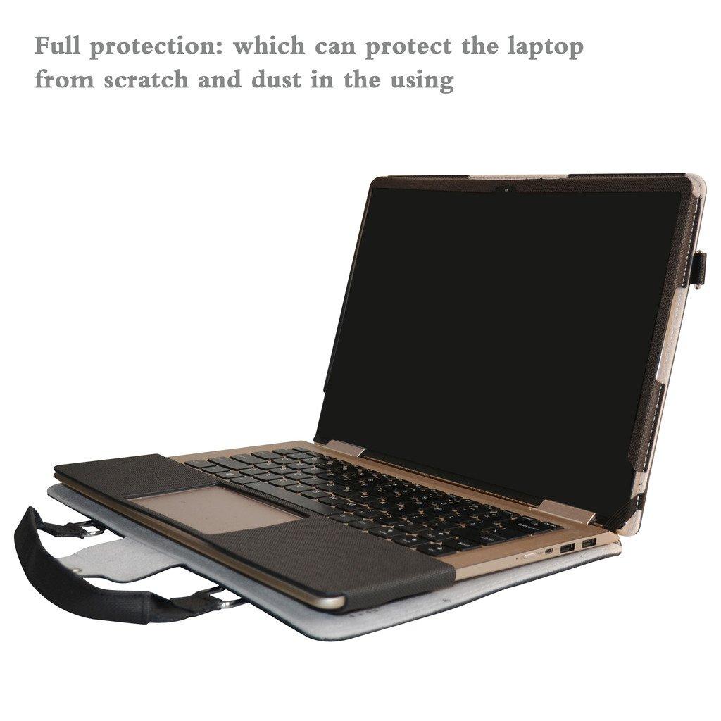 Yoga 710 14 Funda,2 in 1 Diseñado Especialmente La Funda Protectora de Cuero de PU + la Bolsa portátil para 14