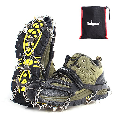Unigear Traction Cleats Ice Snow Grips with 18 Spikes for Walking, Jogging, Climbing and Hiking (Black, Medium)