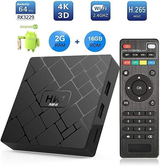 LLDHWX Android TV Box 8.1, HK1 Mini RK3229 Chip HD 2GB + 16GB Smart TV de Control Remoto, 4K Network Set-Top Box, WiFi 2.4GHz: Amazon.es: Hogar