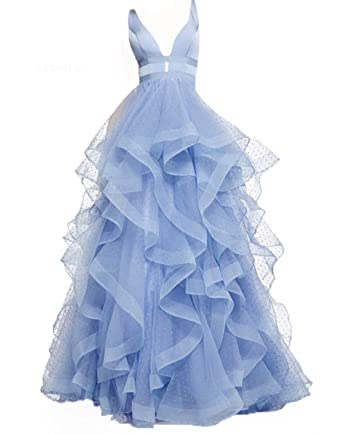d578ee0688e0b gsunmmw V Neck Prom Dresses Layered Ruffle Ball Gown Sleeveless ...