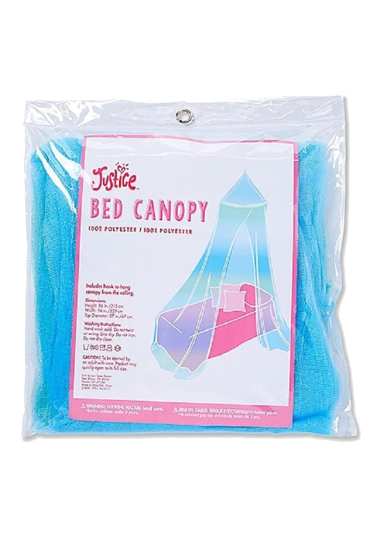 Justice For Girls Bed Net Round Canopy Aqua Tulle Mesh