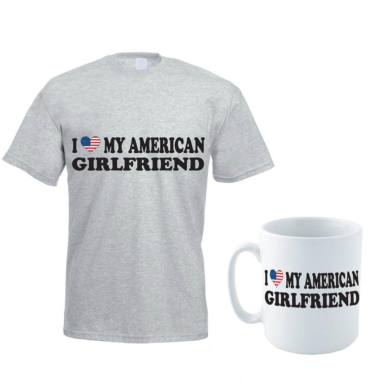 I LOVE MY AMERICAN GIRLFRIEND - America / USA / Gift / Men's T-shirt & Mug Set