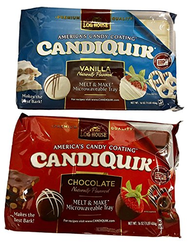Coating Bark Chocolate - Log House Candiquik Candy Coating - One Vanilla, One Chocolate With Microwavable Trays - Holiday Christmas Baking Supplies