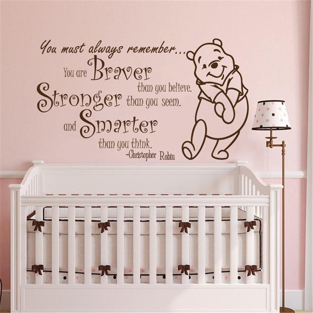 Braver Winnie Pooh Cartoon Quote Kids Vinyl Art Sticker For Home Room Wall Decal