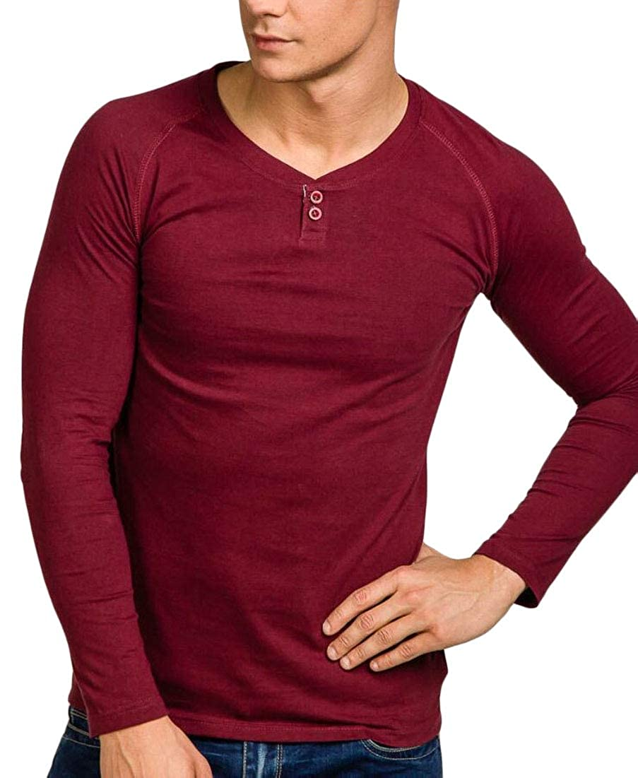 M/&S/&W Mens Slim Fit Shirts Casual Basic Long Sleeve Henley T-Shirts