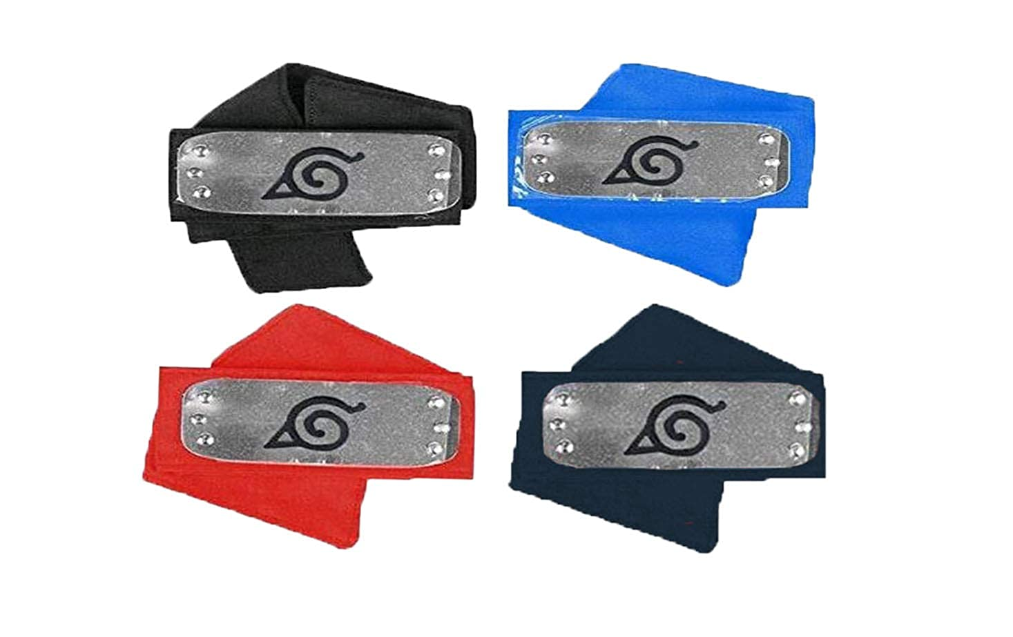 Master Online Naruto Headband, Colored Naruto Headband Plastic Toy with Metal Plated Cosplay Leaf Village Ninja Kakashi (4 Colors)
