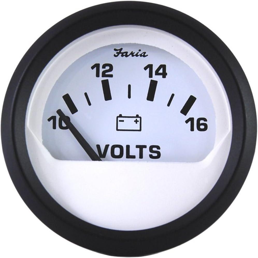 """FARIA CHESAPEAKE WHITE SS 2/"""" VOLTMETER 10-16VDC"""