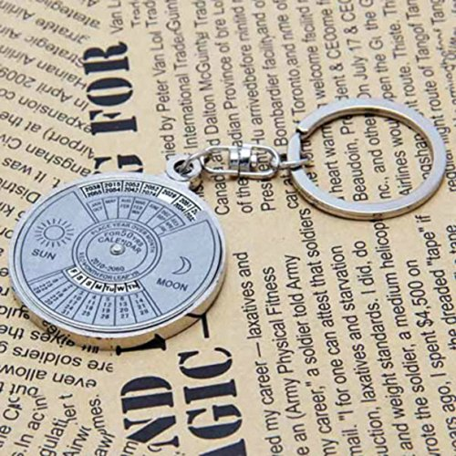 1 Pc Convincing Unique Keychain Frames Mini Pocket Metal Alloy Calendar Cute Multiple Tool Utility Best Accessories Quick Strap Wrist Holder Finder Men Women Teen Teenagers Girls Color Silver by Chiam-Mart