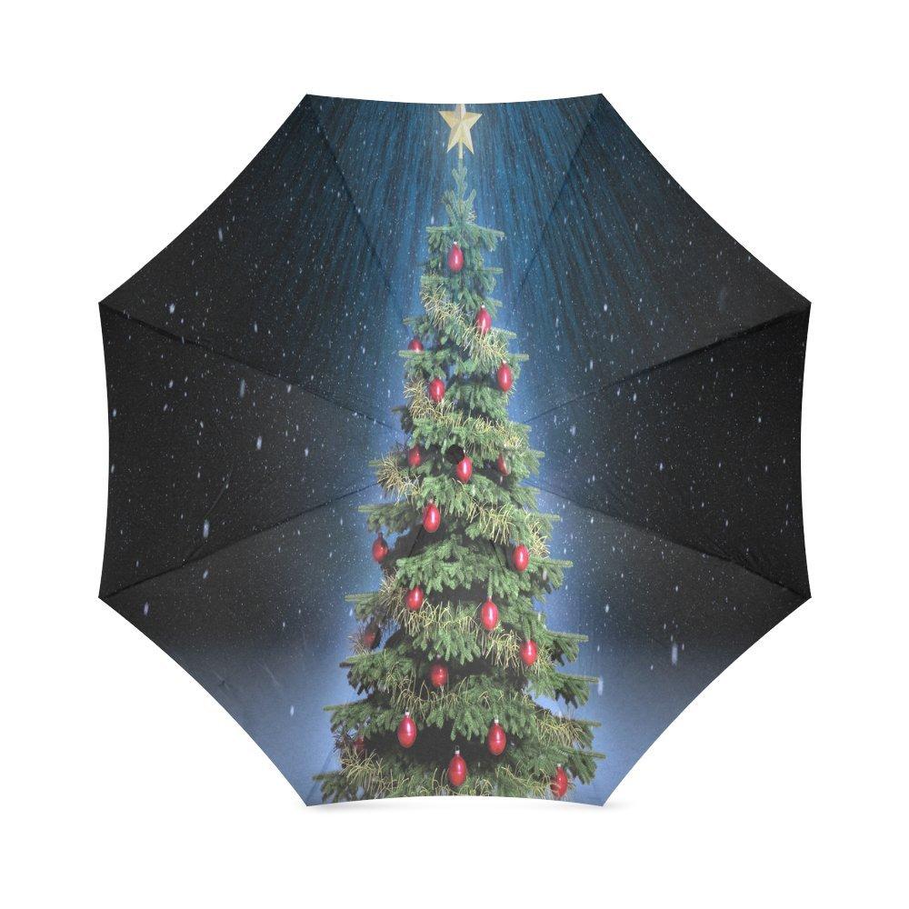 カスタムクリスマスツリーコンパクト旅行防風防雨折りたたみ式傘 B0762PRWGZ