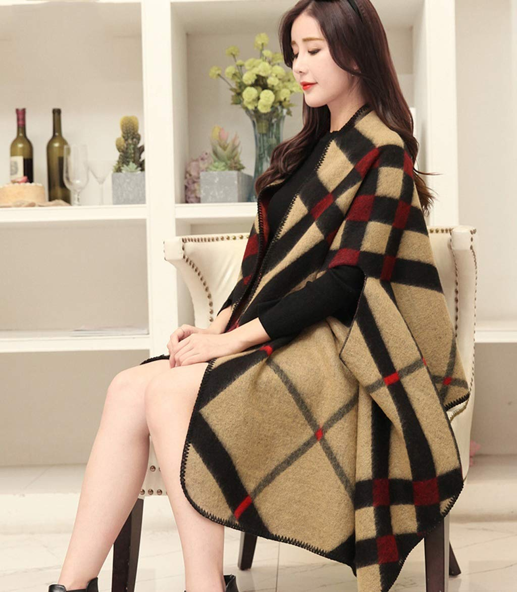 D AchangScarf Shawl Scarf Ladies Dualuse Korean Version of The Wild Winter Large Size Thick Warm Cloak Jacket (color   C)