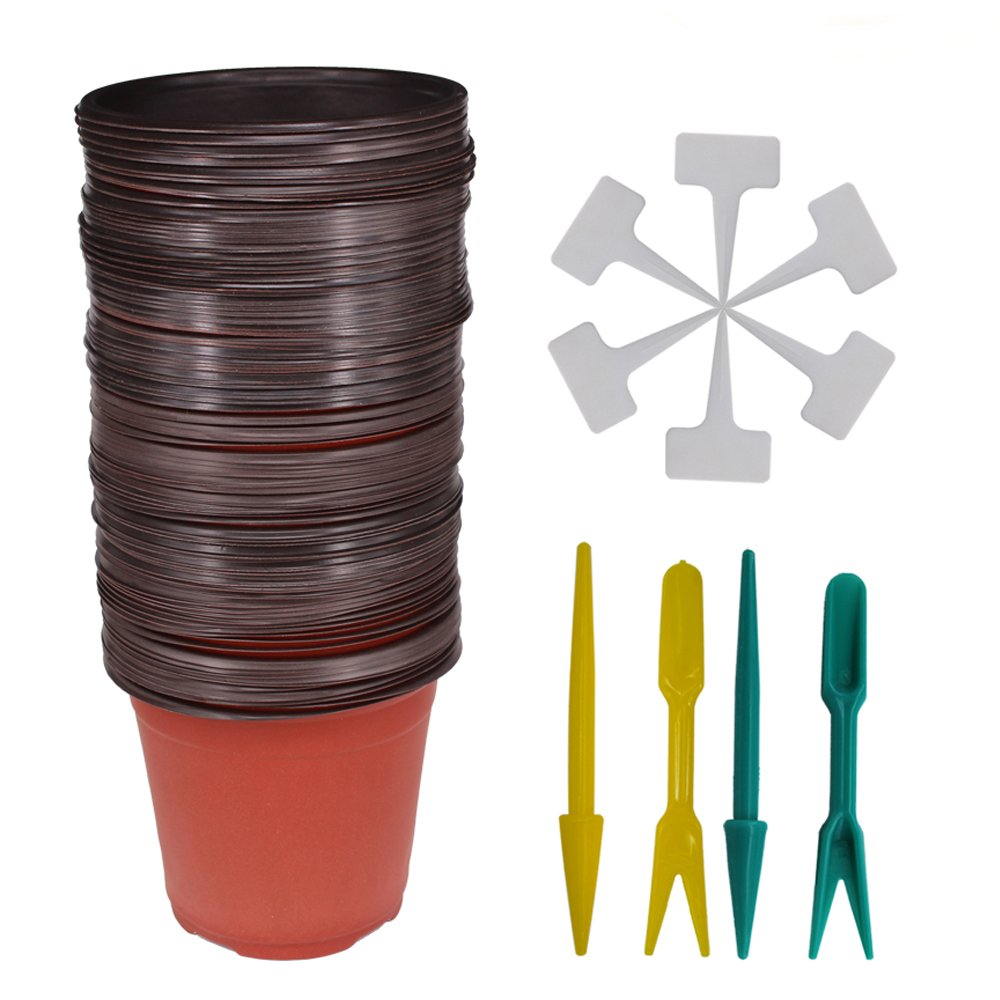 Huvai 100 Pcs 4 Plastic Seedlings Plants Nursery Pots 100 Pcs Waterproof Plastic Plant Tags 2Pcs//Set Transplanting Digging Mini Tools