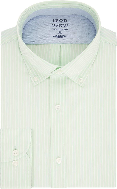 IZOD Men's Dress Shirt Slim Fit Stretch Cool FX Cooling Collar Stripe