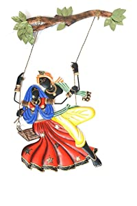 Karigaari India Handcrafted Lord Krishna and Radha Jhula Decorative Metal Wall Hanging Showpiece for Home Décor and Office