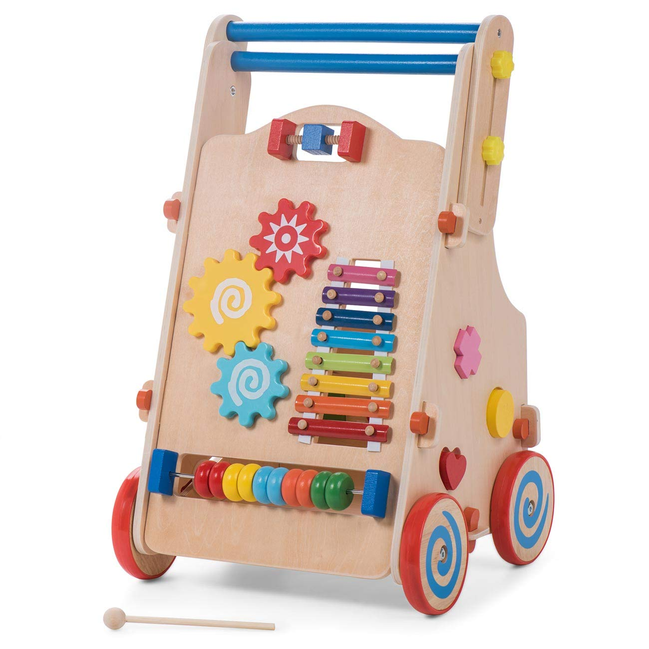Baby Vivo Baby Walker First Steps Children Kids Push Along Toy Training Walker Multifunctional Made of Wood - Carla