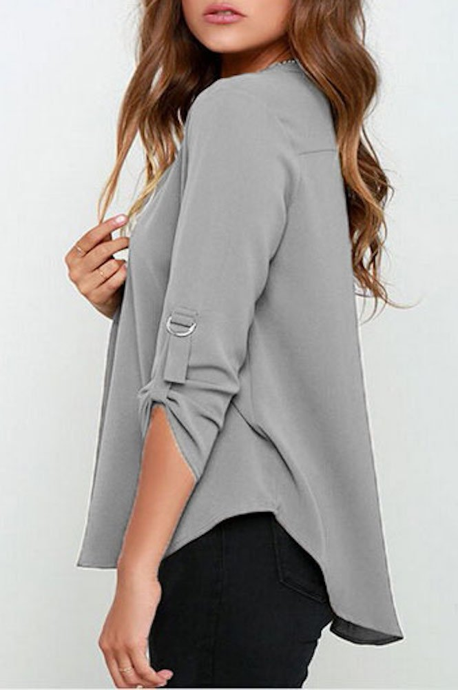 roswear Women's Casual V Neck Cuffed Sleeves Solid Chiffon Blouse Top Grey XX-Large by roswear (Image #2)