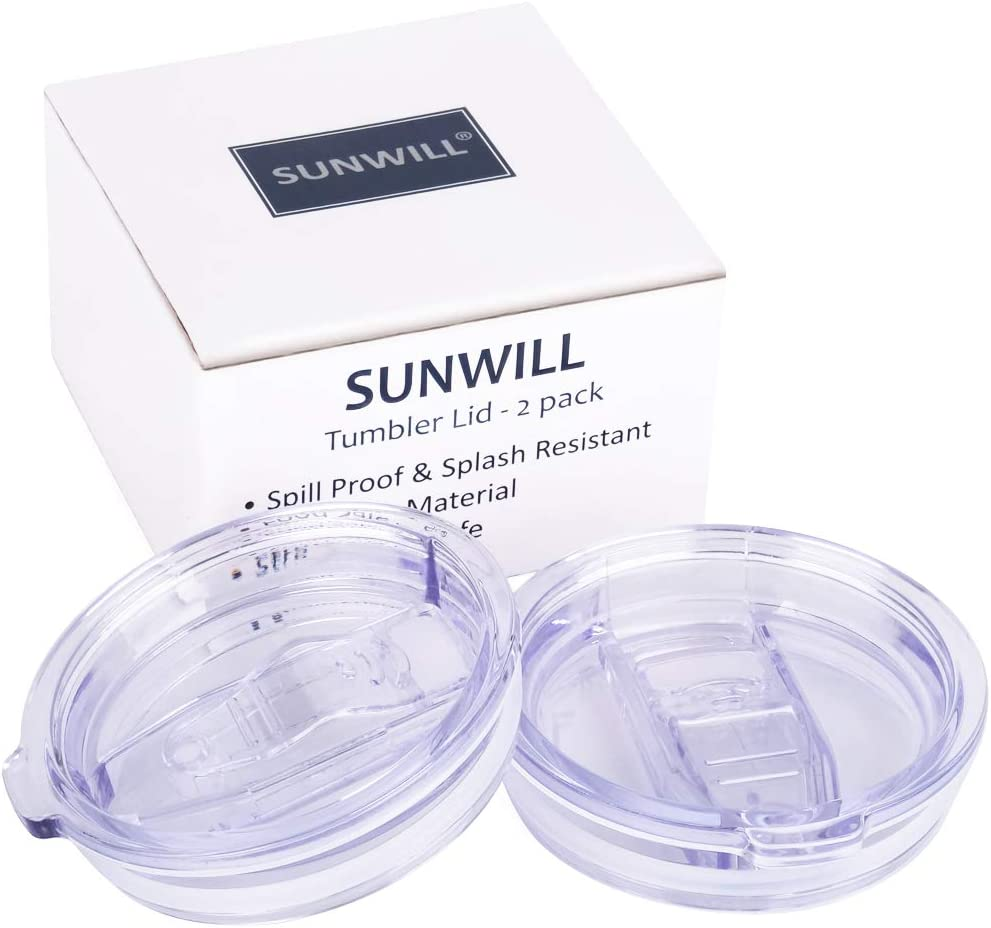 Lid for SUNWILL 20oz Travel Tumblers 2 Pack, Spill Proof Lid, Splash Resistant Silicone Sliding Covers Replacement, Straw Friendly, BPA Free