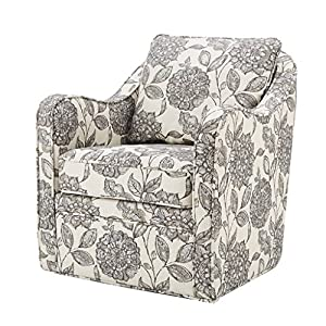 Madison Park Brianne Swivel Chair – Solid Wood, Plywood, Metal Base Accent Armchair Modern Classic Style Family Room…
