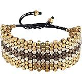 81stgeneration Bracelet Argent couleur or laiton Motif Perle à facettes réglable