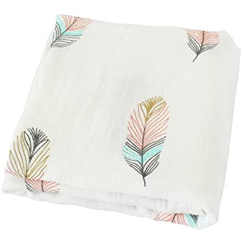 Amazon Com Lifetree Muslin Swaddle Blankets Feather Print Bamboo