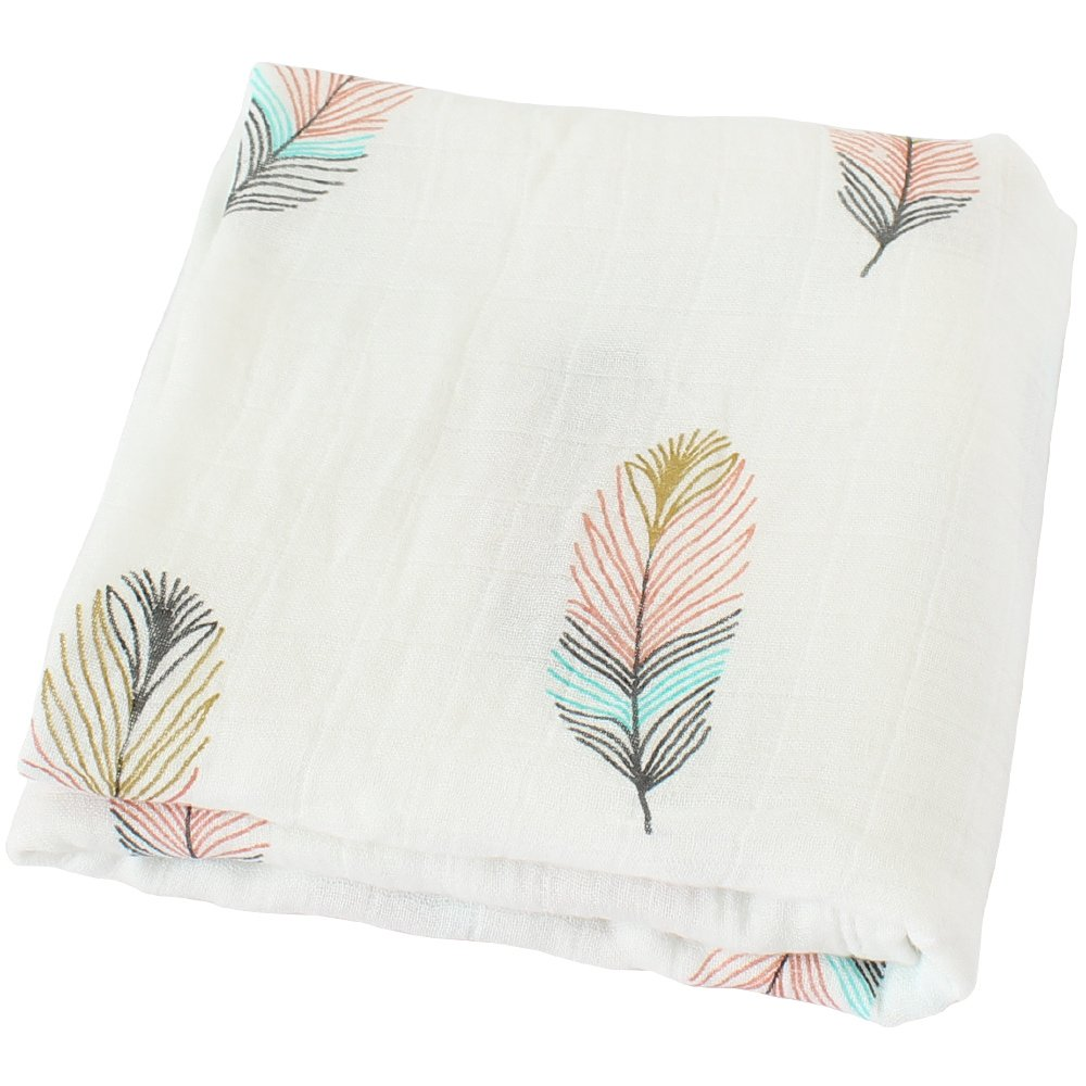 LifeTree Muslin Swaddle Blankets,''Feather Print'' Bamboo Cotton Baby Swaddle Wrap for Boys and Girls, Gender Neutral Baby Blanket, Burping Cloth & Stroller Cover