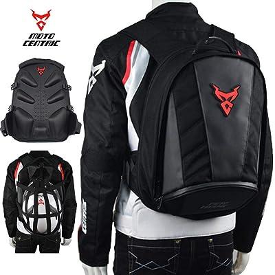 MotoCentric Motorcycle Leather Waterproof Backpack Riding Laptop Helmet Shoulder Bag Package (Red): Computers & Accessories