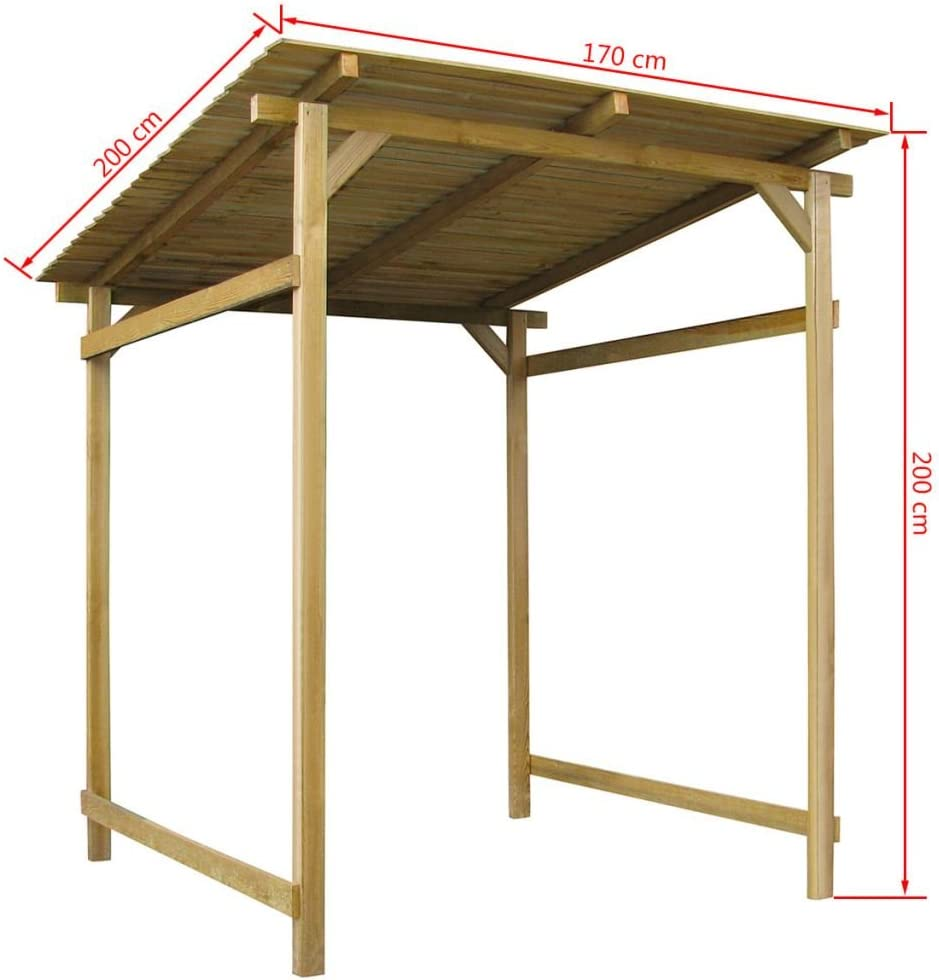 Festnight - Toldo de pérgola para exteriores (madera, 170 x 200 x 200 cm): Amazon.es: Hogar
