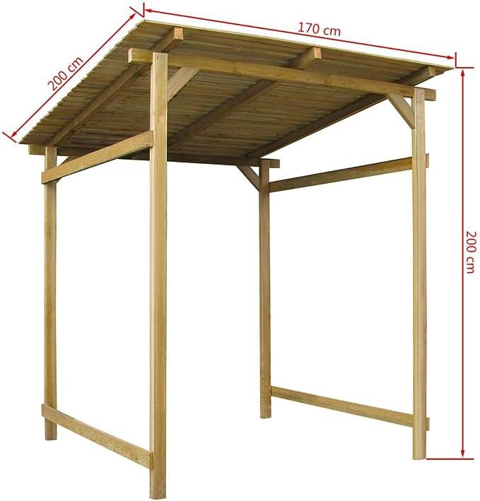 Festnight Pergola - Toldo de madera para exteriores (170 x 200 x 200 cm)