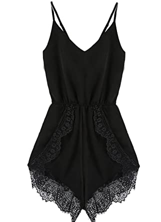 Amazon.com: Meily® Women Strap Sleeveless Lace Chiffon Jumpsuit ...