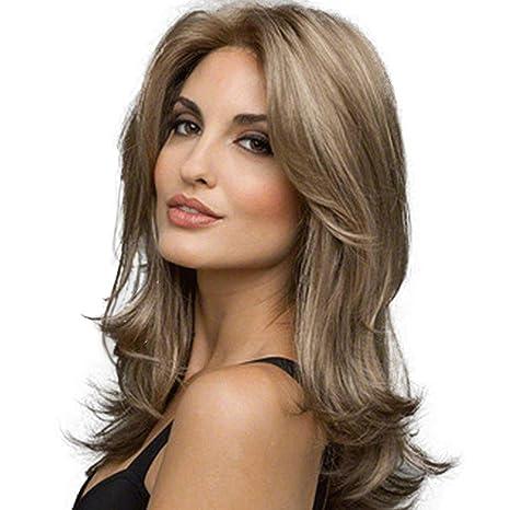 Vococal-Las mujeres forman con encanto las pelucas onduladas rizadas largas rizadas del pelo rubio