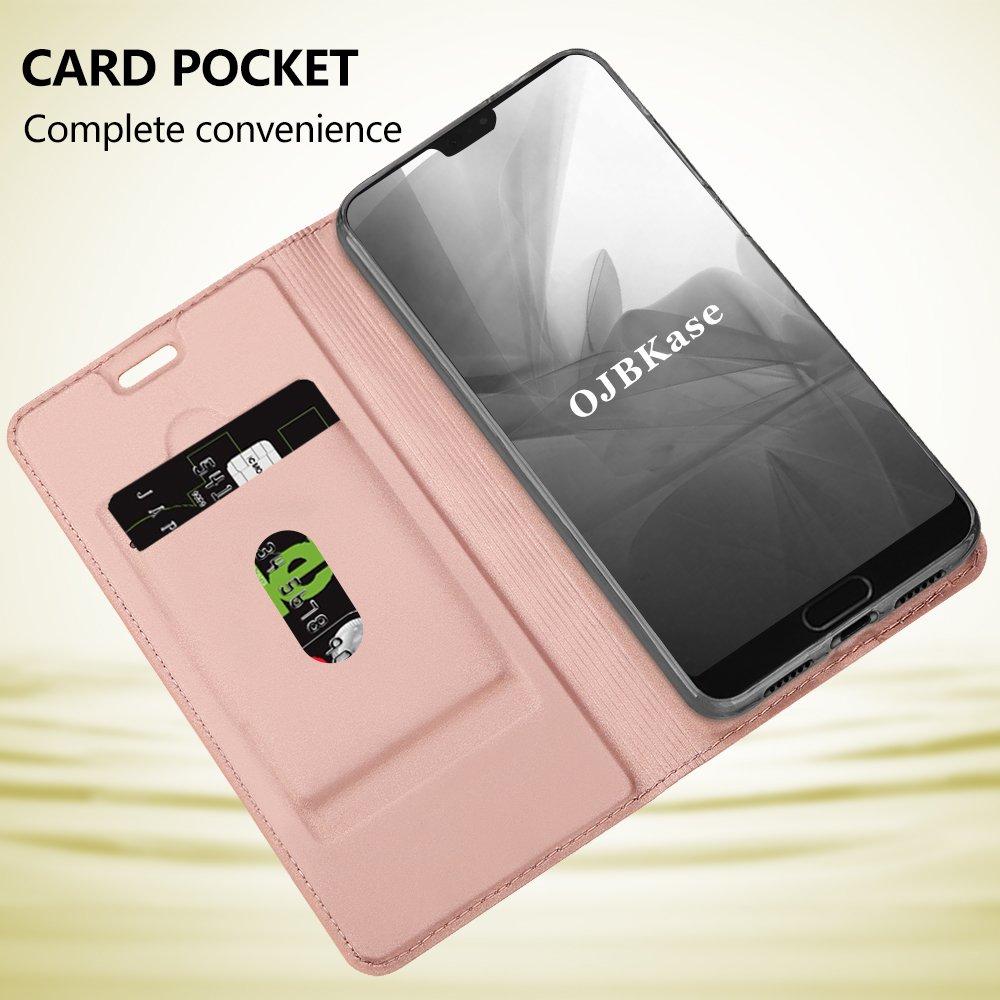Protecci/ón De Cuerpo Completo Case para Huawei P20 Premium Piel sint/ética Billetera Carcasa Protectora Cartera y Funda Cubierta Interior TPU Soporte Plegable Gris Oscuro OJBKase Funda Huawei P20