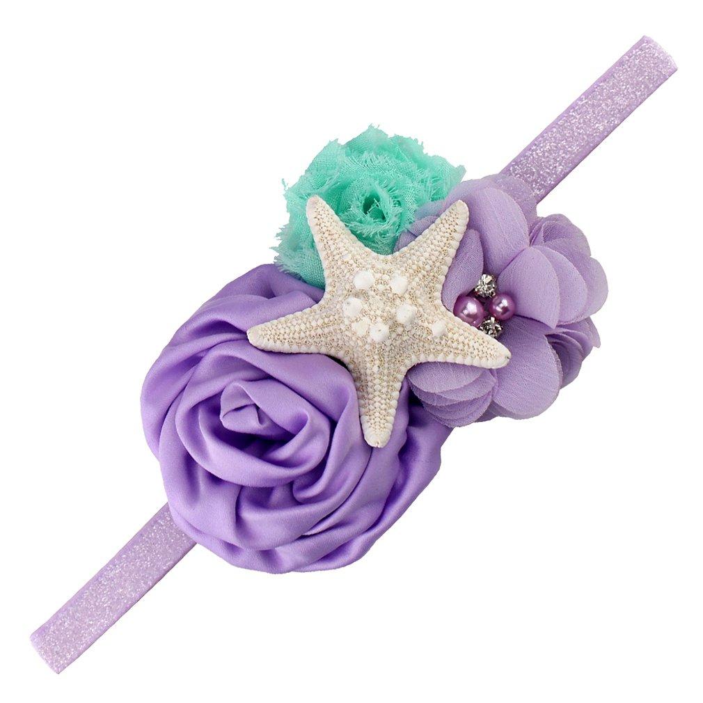 YanJie Aqua Lavender Glitter Starfish Mermaid Headband for Baby Birthday Gift (M, Lavender)
