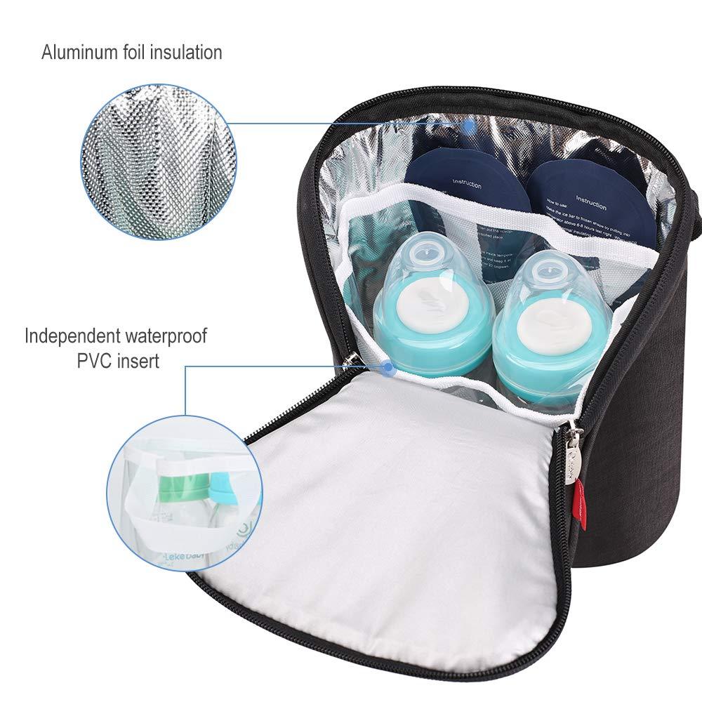 Black Lekebaby Double Baby Bottle Bag Insulated Breastmilk Cooler Bag