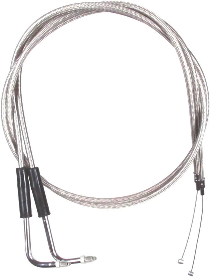 Stainless Braided HC-0699-0634-EG 10 Throttle Cable Set for 1990-1995 Harley-Davidson FLHT Touring models without Cruise Control