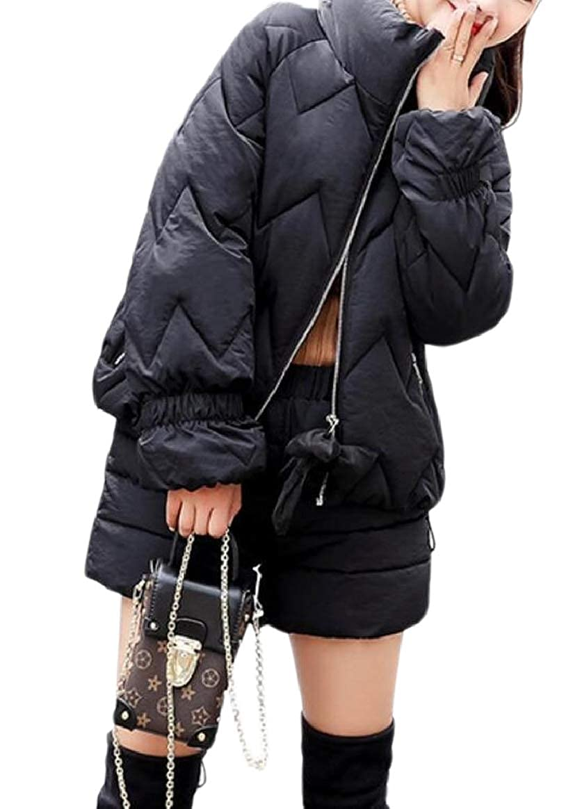 Black pujinggeCA Womens Outerwear Fur Collar Winter Hooded Slim Fit Stylish Snowsuit