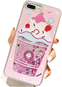 UnnFiko Liquid Ice Cream Case iPhone 6 Plus/iPhone 6s Plus,Summer 3D Cute Quicksand Stars Flowing Floating Bling Glitter Sparkle Soft Case for Girls Women (Pink Ice Cream, iPhone 6 Plus / 6s Plus)