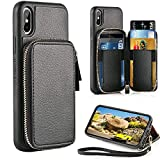 iPhone X Wallet Case, iPhone X Card Holder Case, ZVE Shockproof Protective iPhone X Leather Cases Cover with ID Credit Card Holder Slot Wrist Strap for Apple iPhone X/iPhone 10 5.8'' 2017 (Black)