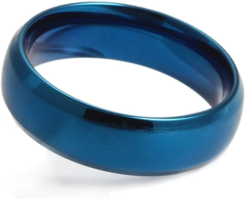 Gnzoe Jewelry Stainless Steel Ring Brushed Wedding Bands For Men Width 6MM,Blue