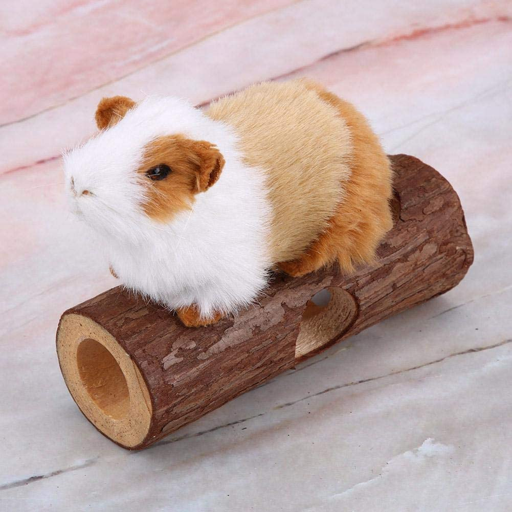 Wooden Hamster Mouse Tunnel Tube Toy Forest Hollow Tree Trunk Animal Tunnel Exercise Tube Chew Toy for Rabbit Ferret Hamster Guinea Pig Zetiling Hamster Exercise Tunnel #1