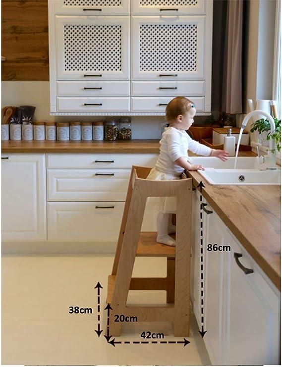 Escaleras domesticas CXLO Torre Aprendizaje Madera de Cocina de Altura Ajustable, Trona Torre de Aprendizaje Montessori(Blanco, Color Madera): Amazon.es: Hogar