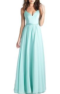 Kevins Bridal Chiffon V-Neck Long Prom Dresses Spaghetti Straps Bridesmaid Dress