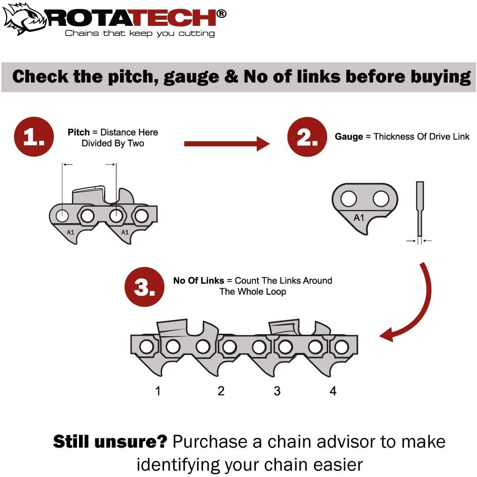 x2 2 Chains Two GENUINE Rotatech Professional Chainsaw Chain To Fit STIHL 028 18 Bar 22LPX074E