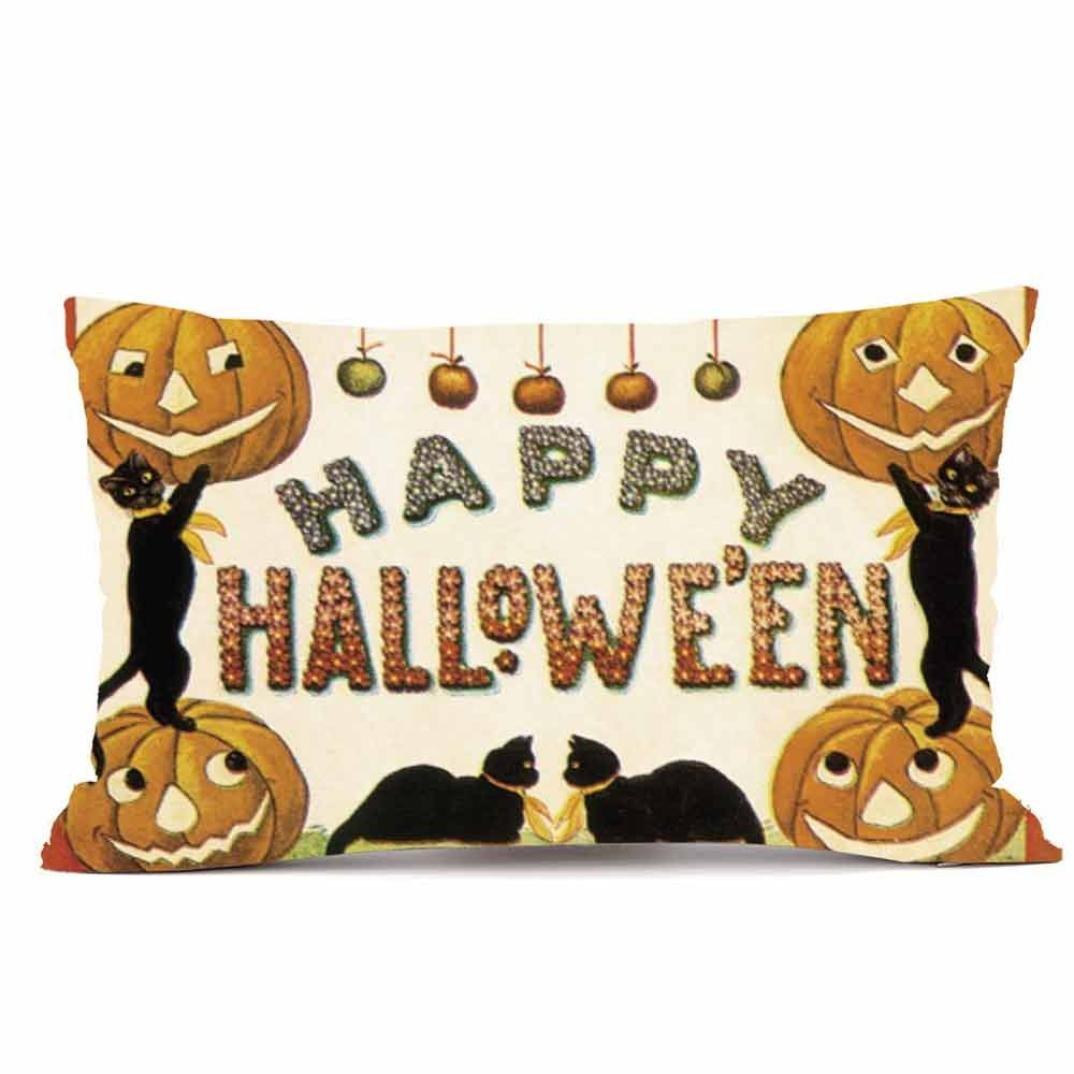 zty66ソファリネン長方形枕投げクッションカバー' Happy Fall Y 'all &車'印刷ホーム祭装飾 30cm*50cm/12*20