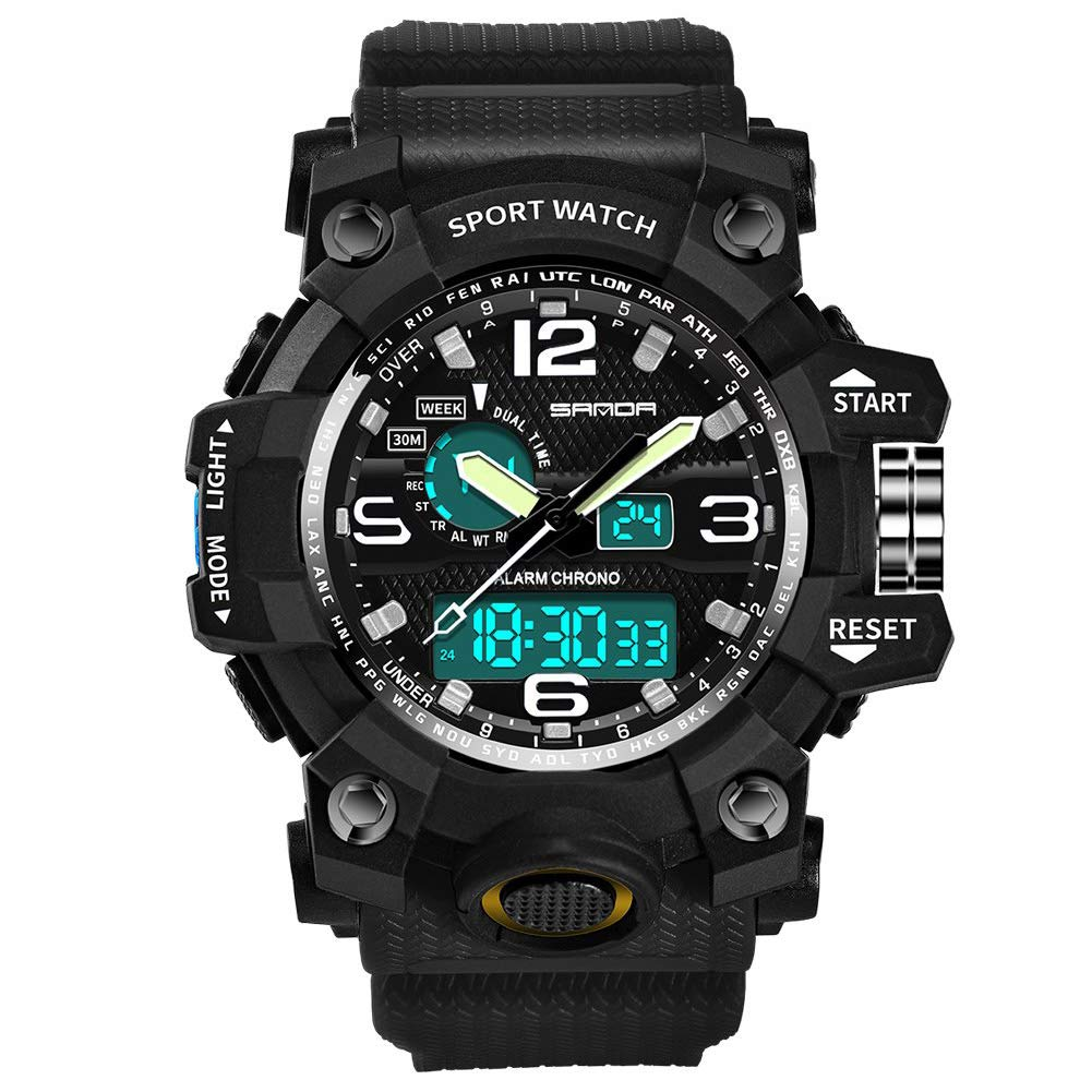 Men's Military Watch, Dual-Display Waterproof Sports Digital Watch Big Wrist for Men with Alarm (Black) by WISHFAN (Image #2)