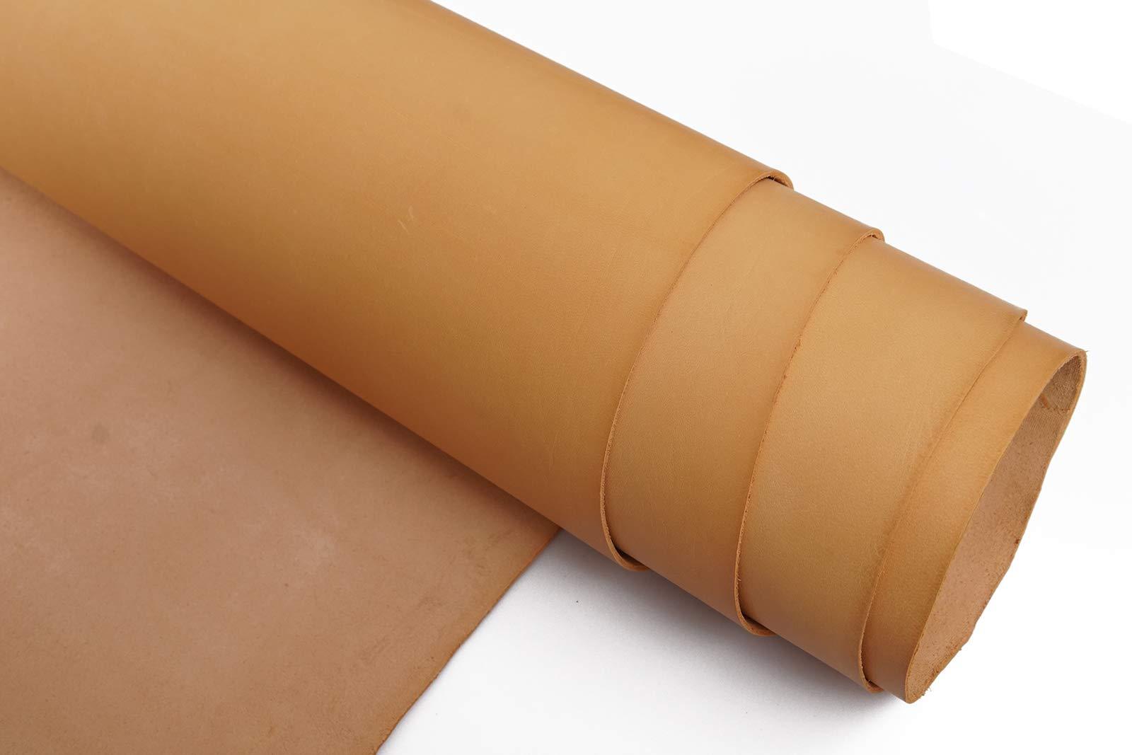 Veg Tan Tooling Leather 2.0mm Full Grain Stiff Cowhide Handmade DIY Art Crafts Carving Firm Genuine Leather by Jeereal